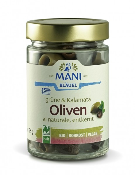 MANI Grüne & Kalamata Oliven al naturale, entkernt, bio