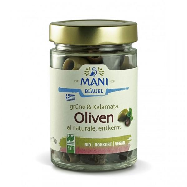 MANI - Grüne und Kalamata Oliven al naturale - entsteint (bio)