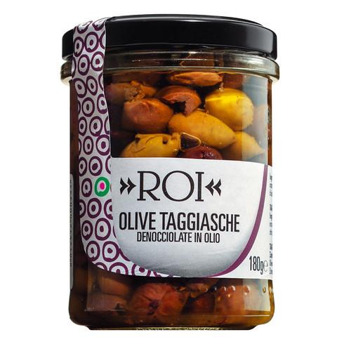 Taggiasca Oliven, entsteint, in Olivenöl, aus Ligurien