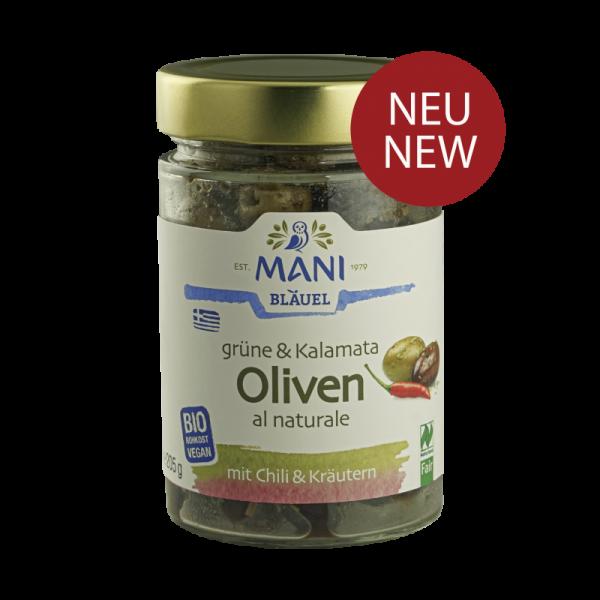 MANI Grüne & Kalamata Oliven al naturale mit Chili & Kräutern, bio NL Fair, 205g