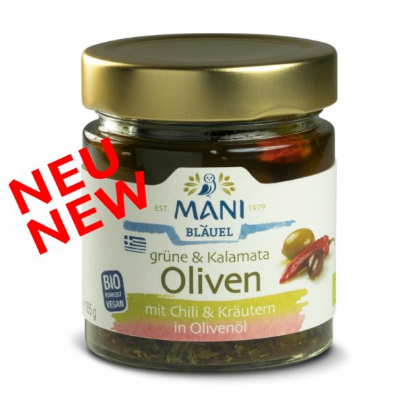 MANI Grüne und Kalamata Oliven mit Chili und Kräutern in Olivenöl, bio, 185g