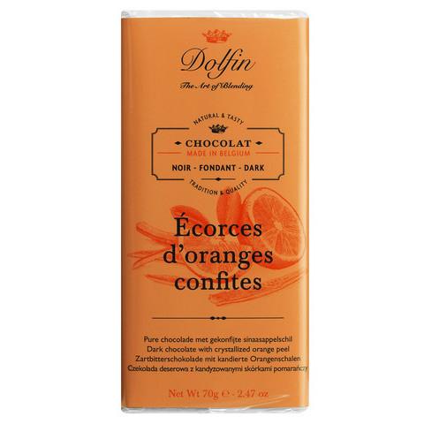 Zartbitterschokolade, mit kandierten Orangen