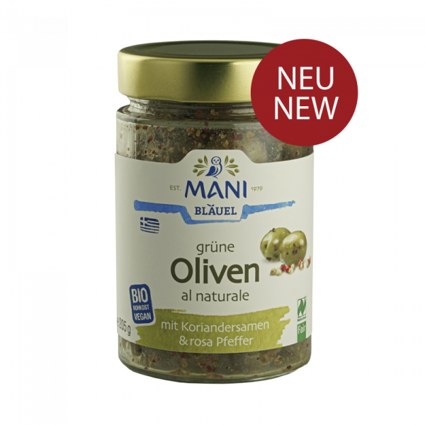 MANI Grüne Oliven al naturale mit Koriandersamen & rosa Pfeffer, bio NL Fair, 205g