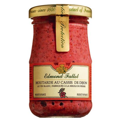 Dijon-Senf, mit Cassis (schwarzen Johannisbeeren) aromatisiert
