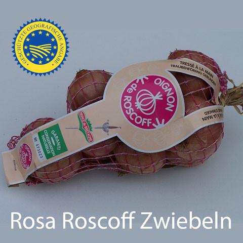Rosa Roscoff Zwiebeln A.O.C. am Zopf /Bretagne